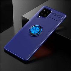 Silikon Hülle Handyhülle Ultra Dünn Schutzhülle Tasche Flexible mit Magnetisch Fingerring Ständer für Samsung Galaxy A42 5G Blau