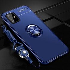 Silikon Hülle Handyhülle Ultra Dünn Schutzhülle Tasche Flexible mit Magnetisch Fingerring Ständer für Samsung Galaxy A51 4G Blau