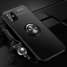 Silikon Hülle Handyhülle Ultra Dünn Schutzhülle Tasche Flexible mit Magnetisch Fingerring Ständer für Samsung Galaxy A51 4G Schwarz