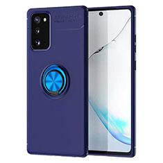 Silikon Hülle Handyhülle Ultra Dünn Schutzhülle Tasche Flexible mit Magnetisch Fingerring Ständer für Samsung Galaxy Note 20 5G Blau
