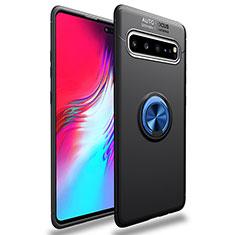 Silikon Hülle Handyhülle Ultra Dünn Schutzhülle Tasche Flexible mit Magnetisch Fingerring Ständer für Samsung Galaxy S10 5G SM-G977B Blau und Schwarz