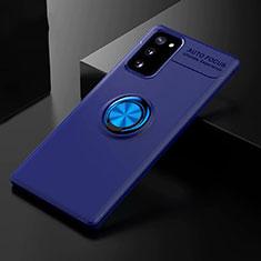 Silikon Hülle Handyhülle Ultra Dünn Schutzhülle Tasche Flexible mit Magnetisch Fingerring Ständer für Samsung Galaxy S20 FE 5G Blau