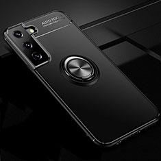 Silikon Hülle Handyhülle Ultra Dünn Schutzhülle Tasche Flexible mit Magnetisch Fingerring Ständer für Samsung Galaxy S21 5G Schwarz