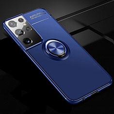 Silikon Hülle Handyhülle Ultra Dünn Schutzhülle Tasche Flexible mit Magnetisch Fingerring Ständer für Samsung Galaxy S21 Ultra 5G Blau