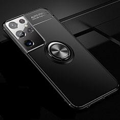Silikon Hülle Handyhülle Ultra Dünn Schutzhülle Tasche Flexible mit Magnetisch Fingerring Ständer für Samsung Galaxy S21 Ultra 5G Schwarz