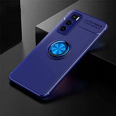 Silikon Hülle Handyhülle Ultra Dünn Schutzhülle Tasche Flexible mit Magnetisch Fingerring Ständer für Vivo V20 SE Blau