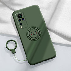 Silikon Hülle Handyhülle Ultra Dünn Schutzhülle Tasche Flexible mit Magnetisch Fingerring Ständer für Vivo X60 Pro 5G Nachtgrün
