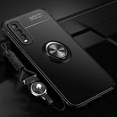 Silikon Hülle Handyhülle Ultra Dünn Schutzhülle Tasche Flexible mit Magnetisch Fingerring Ständer für Vivo Y12s Schwarz