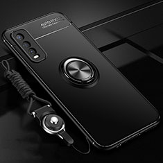 Silikon Hülle Handyhülle Ultra Dünn Schutzhülle Tasche Flexible mit Magnetisch Fingerring Ständer für Vivo Y20s Schwarz