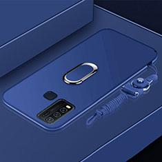 Silikon Hülle Handyhülle Ultra Dünn Schutzhülle Tasche Flexible mit Magnetisch Fingerring Ständer für Vivo Y50 Blau