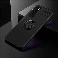 Silikon Hülle Handyhülle Ultra Dünn Schutzhülle Tasche Flexible mit Magnetisch Fingerring Ständer für Vivo Y70 (2020) Schwarz