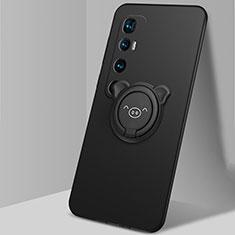 Silikon Hülle Handyhülle Ultra Dünn Schutzhülle Tasche Flexible mit Magnetisch Fingerring Ständer für Xiaomi Mi 10 Ultra Schwarz