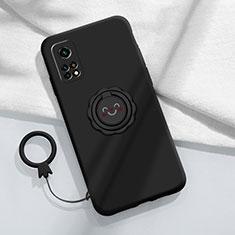 Silikon Hülle Handyhülle Ultra Dünn Schutzhülle Tasche Flexible mit Magnetisch Fingerring Ständer für Xiaomi Mi 10T Pro 5G Schwarz
