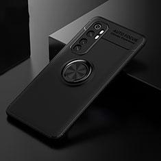 Silikon Hülle Handyhülle Ultra Dünn Schutzhülle Tasche Flexible mit Magnetisch Fingerring Ständer für Xiaomi Mi Note 10 Lite Schwarz