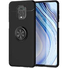 Silikon Hülle Handyhülle Ultra Dünn Schutzhülle Tasche Flexible mit Magnetisch Fingerring Ständer für Xiaomi Poco M2 Pro Schwarz