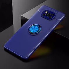 Silikon Hülle Handyhülle Ultra Dünn Schutzhülle Tasche Flexible mit Magnetisch Fingerring Ständer für Xiaomi Poco X3 NFC Blau