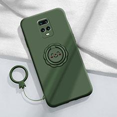 Silikon Hülle Handyhülle Ultra Dünn Schutzhülle Tasche Flexible mit Magnetisch Fingerring Ständer für Xiaomi Redmi 10X Pro 5G Grün