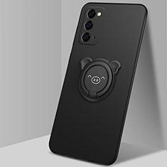 Silikon Hülle Handyhülle Ultra Dünn Schutzhülle Tasche Flexible mit Magnetisch Fingerring Ständer N02 für Samsung Galaxy Note 20 5G Schwarz