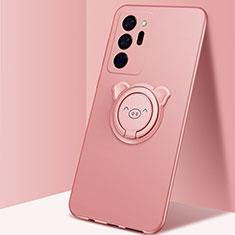 Silikon Hülle Handyhülle Ultra Dünn Schutzhülle Tasche Flexible mit Magnetisch Fingerring Ständer N02 für Samsung Galaxy Note 20 Ultra 5G Rosegold
