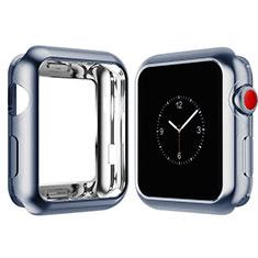 Silikon Hülle Handyhülle Ultra Dünn Schutzhülle Tasche S02 für Apple iWatch 4 40mm Hellblau