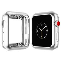 Silikon Hülle Handyhülle Ultra Dünn Schutzhülle Tasche S02 für Apple iWatch 4 44mm Silber