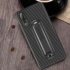 Silikon Hülle Handyhülle Ultra Dünn Schutzhülle Tasche Silikon mit Fingerring Ständer A01 für Huawei P20 Schwarz