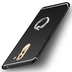 Silikon Hülle Handyhülle Ultra Dünn Schutzhülle Tasche Silikon mit Fingerring Ständer für Huawei Honor 6X Schwarz