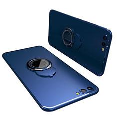 Silikon Hülle Handyhülle Ultra Dünn Schutzhülle Tasche Silikon mit Fingerring Ständer für Huawei Honor V10 Blau