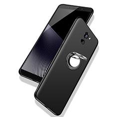 Silikon Hülle Handyhülle Ultra Dünn Schutzhülle Tasche Silikon mit Fingerring Ständer für Huawei Y7 Prime Schwarz