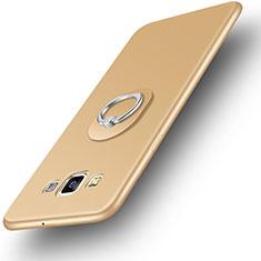 Silikon Hülle Handyhülle Ultra Dünn Schutzhülle Tasche Silikon mit Fingerring Ständer für Samsung Galaxy A3 SM-300F Gold
