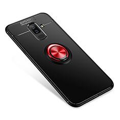 Silikon Hülle Handyhülle Ultra Dünn Schutzhülle Tasche Silikon mit Fingerring Ständer für Samsung Galaxy A6 Plus (2018) Rot und Schwarz