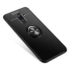 Silikon Hülle Handyhülle Ultra Dünn Schutzhülle Tasche Silikon mit Fingerring Ständer für Samsung Galaxy A9 Star Lite Schwarz