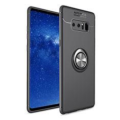 Silikon Hülle Handyhülle Ultra Dünn Schutzhülle Tasche Silikon mit Fingerring Ständer für Samsung Galaxy Note 8 Schwarz