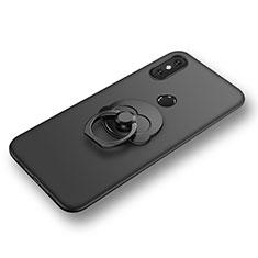 Silikon Hülle Handyhülle Ultra Dünn Schutzhülle Tasche Silikon mit Fingerring Ständer für Xiaomi Mi 8 Schwarz