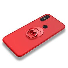 Silikon Hülle Handyhülle Ultra Dünn Schutzhülle Tasche Silikon mit Fingerring Ständer für Xiaomi Mi 8 SE Rot