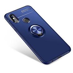 Silikon Hülle Handyhülle Ultra Dünn Schutzhülle Tasche Silikon mit Fingerring Ständer für Xiaomi Mi A2 Blau
