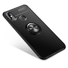 Silikon Hülle Handyhülle Ultra Dünn Schutzhülle Tasche Silikon mit Fingerring Ständer für Xiaomi Mi A2 Schwarz