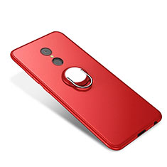 Silikon Hülle Handyhülle Ultra Dünn Schutzhülle Tasche Silikon mit Fingerring Ständer für Xiaomi Redmi 5 Rot