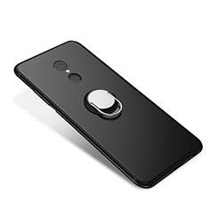 Silikon Hülle Handyhülle Ultra Dünn Schutzhülle Tasche Silikon mit Fingerring Ständer für Xiaomi Redmi 5 Schwarz