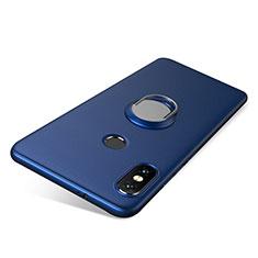 Silikon Hülle Handyhülle Ultra Dünn Schutzhülle Tasche Silikon mit Fingerring Ständer für Xiaomi Redmi Note 5 AI Dual Camera Blau