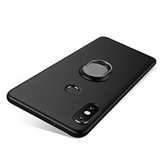 Silikon Hülle Handyhülle Ultra Dünn Schutzhülle Tasche Silikon mit Fingerring Ständer für Xiaomi Redmi Note 5 AI Dual Camera Schwarz