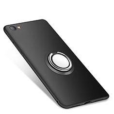 Silikon Hülle Handyhülle Ultra Dünn Schutzhülle Tasche Silikon mit Fingerring Ständer für Xiaomi Redmi Note 5A Standard Edition Schwarz
