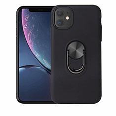Silikon Hülle Handyhülle Ultra Dünn Schutzhülle Tasche Silikon mit Magnetisch Fingerring Ständer A01 für Apple iPhone 11 Schwarz