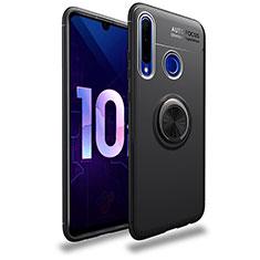 Silikon Hülle Handyhülle Ultra Dünn Schutzhülle Tasche Silikon mit Magnetisch Fingerring Ständer A01 für Huawei Enjoy 9s Schwarz