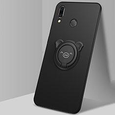 Silikon Hülle Handyhülle Ultra Dünn Schutzhülle Tasche Silikon mit Magnetisch Fingerring Ständer A01 für Huawei Honor 10 Lite Schwarz