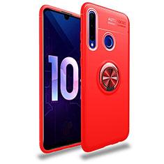 Silikon Hülle Handyhülle Ultra Dünn Schutzhülle Tasche Silikon mit Magnetisch Fingerring Ständer A01 für Huawei Honor 20 Lite Rot