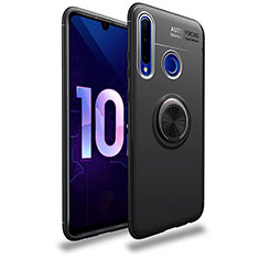 Silikon Hülle Handyhülle Ultra Dünn Schutzhülle Tasche Silikon mit Magnetisch Fingerring Ständer A01 für Huawei Honor 20 Lite Schwarz