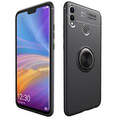 Silikon Hülle Handyhülle Ultra Dünn Schutzhülle Tasche Silikon mit Magnetisch Fingerring Ständer A01 für Huawei Honor 8X Schwarz