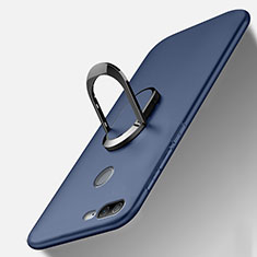 Silikon Hülle Handyhülle Ultra Dünn Schutzhülle Tasche Silikon mit Magnetisch Fingerring Ständer A01 für Huawei Honor 9 Lite Blau