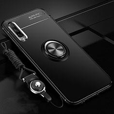 Silikon Hülle Handyhülle Ultra Dünn Schutzhülle Tasche Silikon mit Magnetisch Fingerring Ständer A01 für Huawei Honor 9X Pro Schwarz